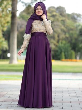 En Renkli Tesettur Elbise Modelleri